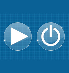 Play and standby transparent shiny buttons on vector