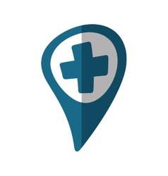 Pointer map hospital cross location shadow vector
