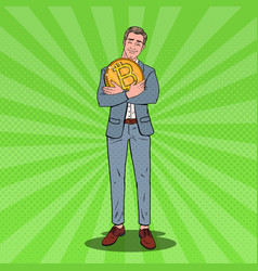 pop art happy businessman holding big bitcoin coin vector image vector image