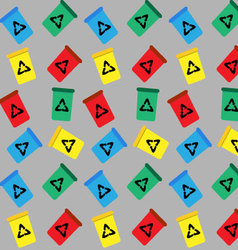 Seamless pattern trash bin vector image