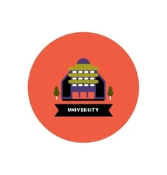 stylish icon in color circle building university vector image vector image