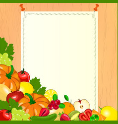 Thanksgiving menu paper with fruits and vegetables vector
