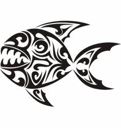 tribal tattoo fish vector image