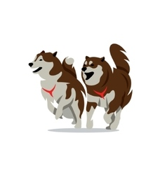 Two husky dog cartoon vector