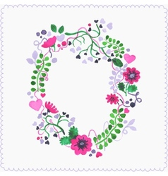Watercolor floral frame or wreath Greeting card vector image