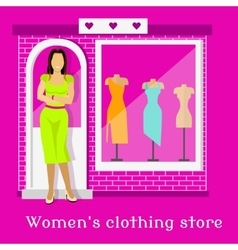 Woman clothing urban store design vector