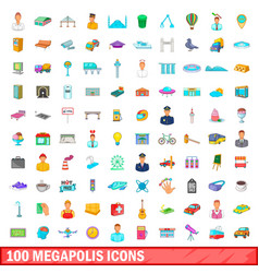 100 megapolis icons set cartoon style vector image