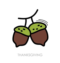 Acorn icon harvest thanksgiving vector