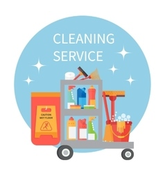 Trolley full of cleaning supplies and household vector image