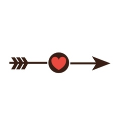 arrow with heart icon vector image
