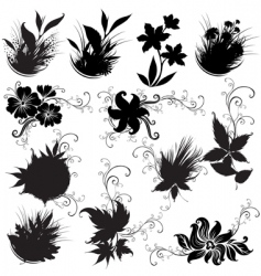 Set of black floral design elements vector