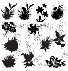 set of black floral design elements vector image