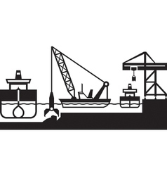 Dredger ship deepens port vector