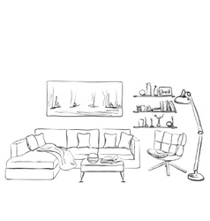 Modern interior room sketch s vector