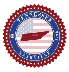 Label sticker cards of state tennessee usa vector