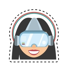 Girl virtual reality glasses technology design cut vector