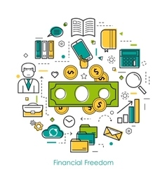 Financial freedom - round line concept vector