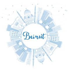 Outline beirut skyline with blue buildings and vector