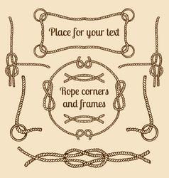Big set of vintage ropes corners and frames vector