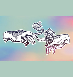 Hands with weed joint or cigarette and a lighter vector