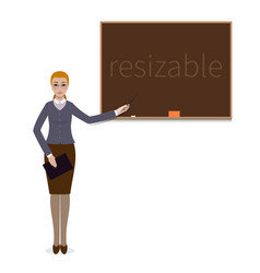 Teacher woman standing with a pointer near vector