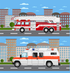 Fire truck and ambulance car in urban landscape vector