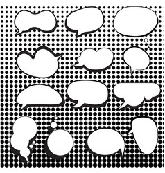 Comic speech bubbles set with halftone background vector