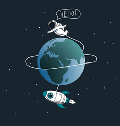 cute astronaut flying around the earth vector image