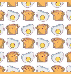 Delicious slice breads and fried egg background vector
