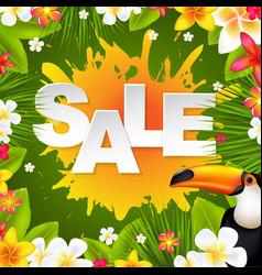 Sale banner with frangipani vector