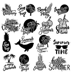 summer emblems set of hand drawn lettering vector image