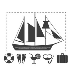 sailboat travel info poster elements vector image