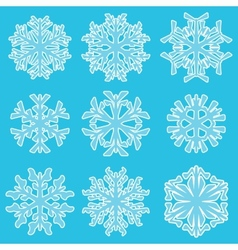 Geometric blue snowflakes vector