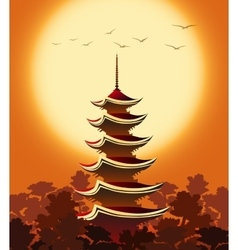 Pagoda at sunset vector