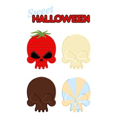 Sweet halloween set sweet skull of white and dark vector