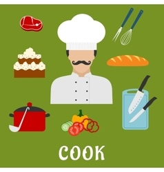 Cook with food and dishes flat icons vector