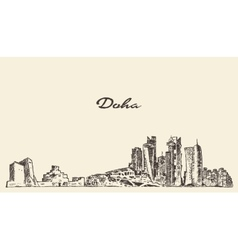 Doha skyline hand drawn vector