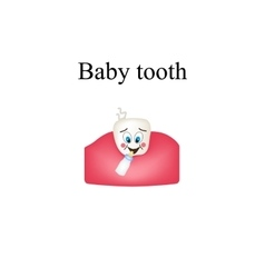 Cheerful baby tooth children cartoon style vector