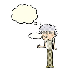 Cartoon smoker with thought bubble vector