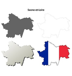 Saone-et-loire burgundy outline map set vector