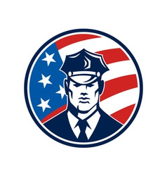 American policeman security guard retro vector