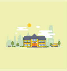 Bright flat of school building for vector