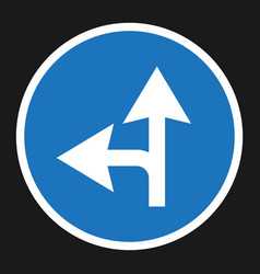compulsory ahead or left sign flat icon vector image