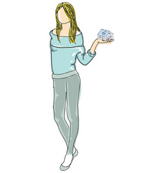 Drawn girl in sweater holding house vector
