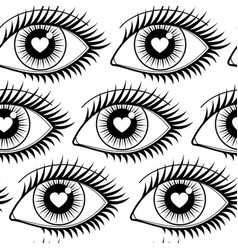 Eyes of lovers seamless pattern vector