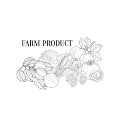 Farm Products Still Life Hand Drawn Realistic vector image