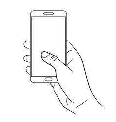 Female hand holding a smart phone on white vector
