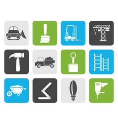 Flat Building and Construction equipment icons vector image vector image
