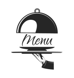 Food serving tray silver tray in hand waiter menu vector