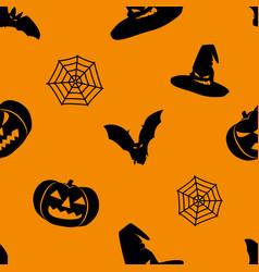 halloween orange background with black witch hat vector image vector image